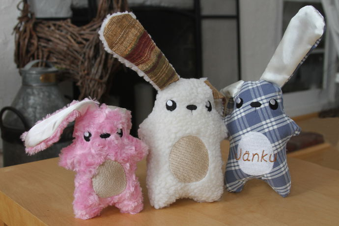 Different plush bunnies with long fluffy ears