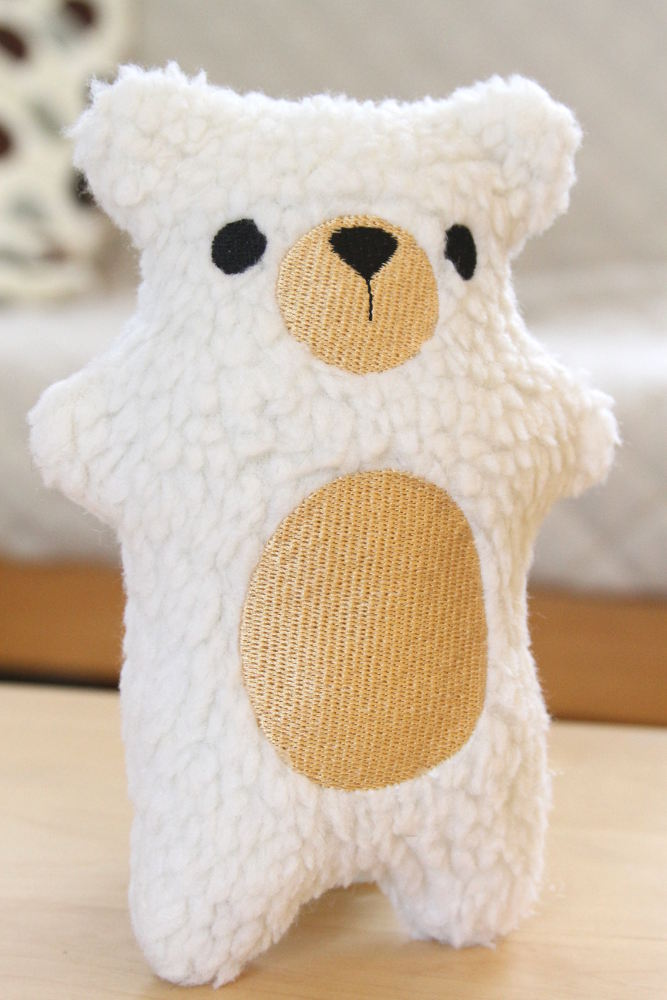 Handmade plush polar bear -- we make them in our little studio